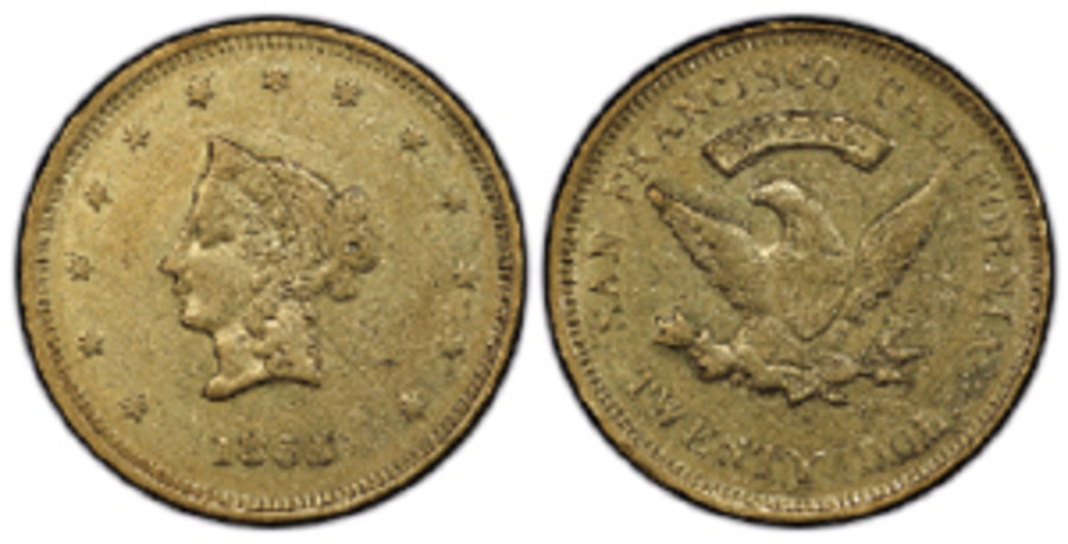 One of the finest known 1855 Wass Molitor Small Head variety $20 gold coins grades PCGS AU-58. (Image courtesy of Professional Coin Grading Service www.PCGS.com)