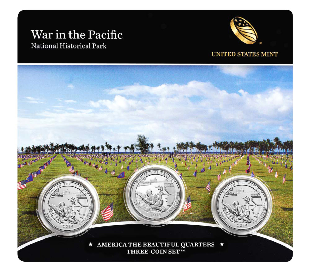 Each of the War in the Pacific National Historical Park Quarter Sets include two uncirculated quarters – one from Denver and one from Philadelphia, as well as a proof quarter from the San Francisco Mint.