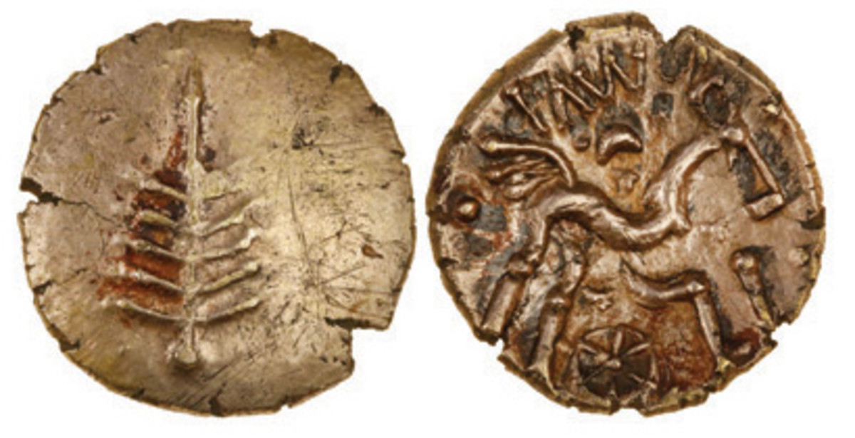 New detector find: gold stater of the Iron Age Dobunni people from 1-15 C.E. that took $7,860 in gVF. (Images courtesy and © Spink, London)