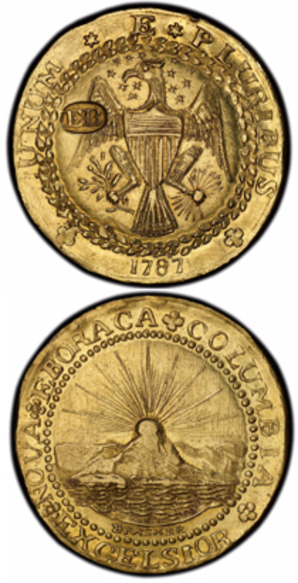 EB on wing 1787 Brasher Doubloon: The discovery specimen for the legendary 1787 gold Brasher doubloons will be displayed by PCGS along with historic New York copper coins at the Long Beach Expo, Jan. 31-Feb. 2, 2019. (Photo credit: Professional Coin Grading Service www.PCGS.com)