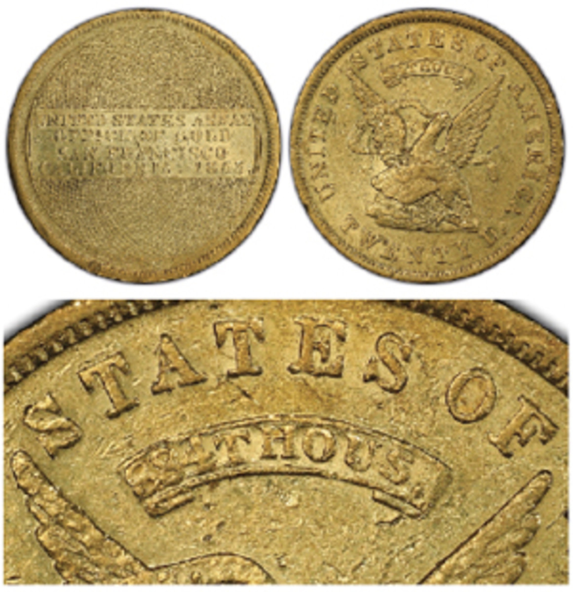 """This rare 884 THOUS variety 1853 U.S. Assay Office $20, graded PCGS AU-55+, is one of the Territorial gold coins recovered from the """"SS Central America."""" (Images from Professional Coin Grading Service www.PCGS.com)"""