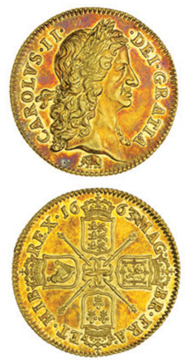 Highly desirable and top-selling lot from Spink's July sale: 1663 guinea of Charles II with elephant below (KM-420.2; S-3339) that realized $70,740 in EF. The elephant indicates Guinea as the source of the gold used; hence the coin's name. (Images courtesy and © Spink, London)