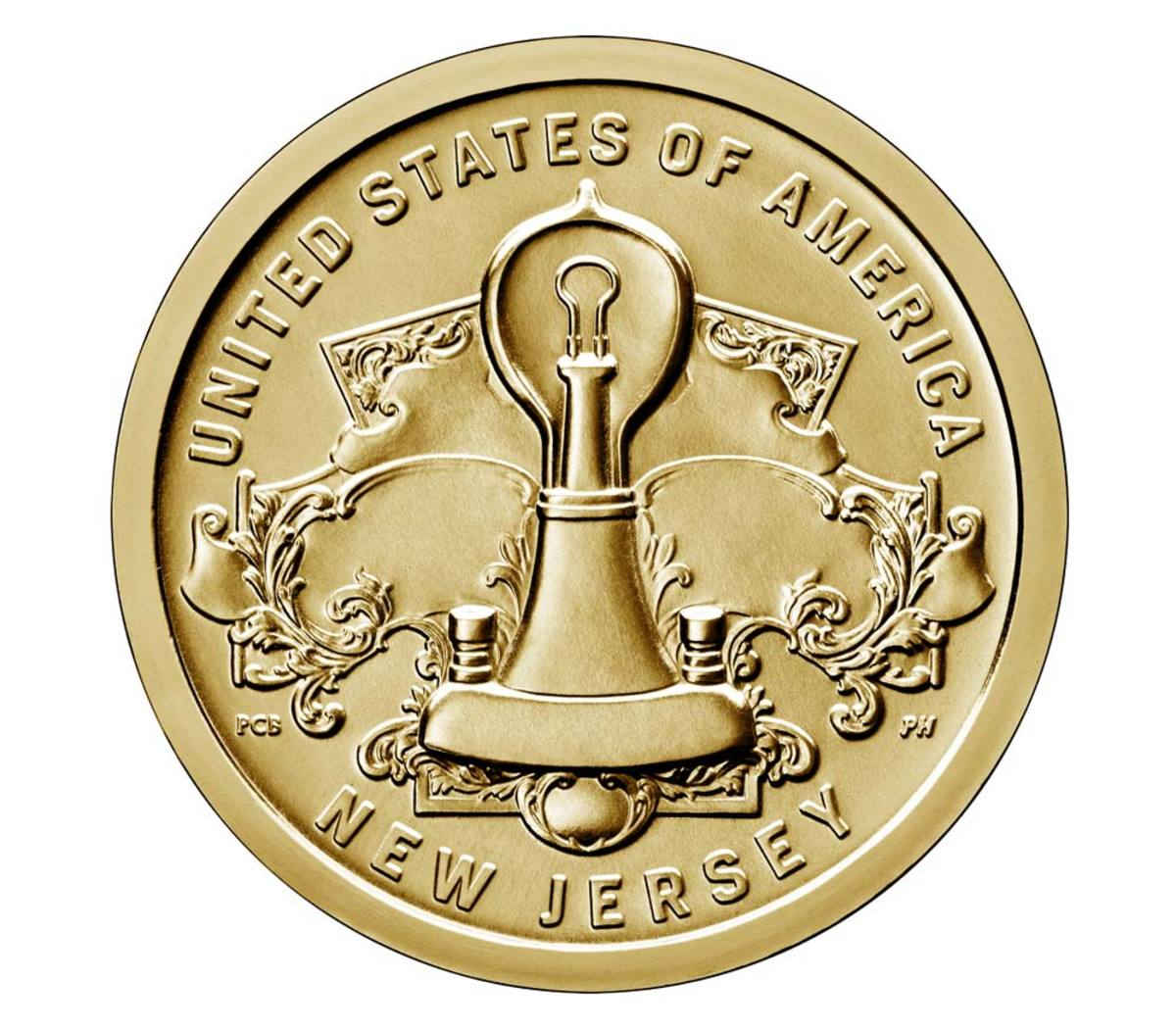 The American Innovation coin commemorating New Jersey. (Image courtesy U.S. Mint)