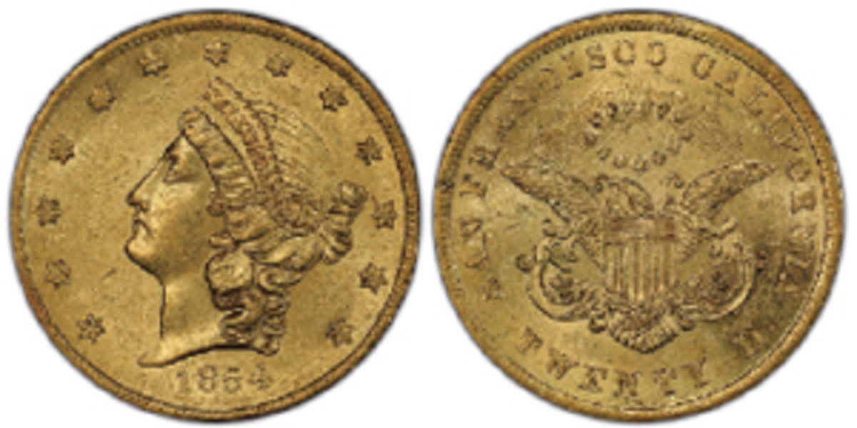 """The latest """"SS Central America"""" sunken treasure recovery yielded the second finest known 1854 Kellogg $20 Territorial gold coin, now graded PCGS MS-62+. (Images from Professional Coin Grading Service www.PCGS.com)"""