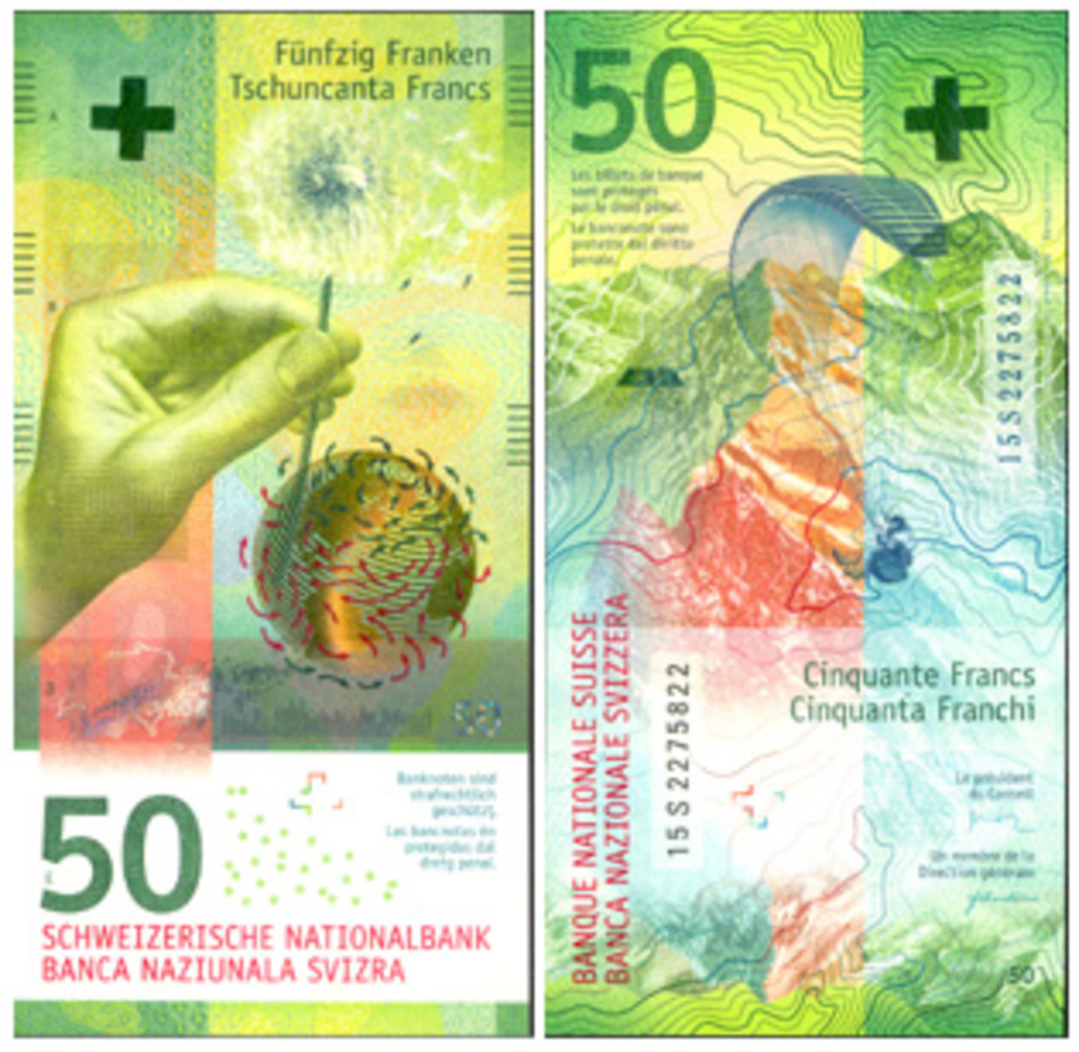Representing wind and national experiences, the 2016 Swiss 50-franc note took IBNS top honors.