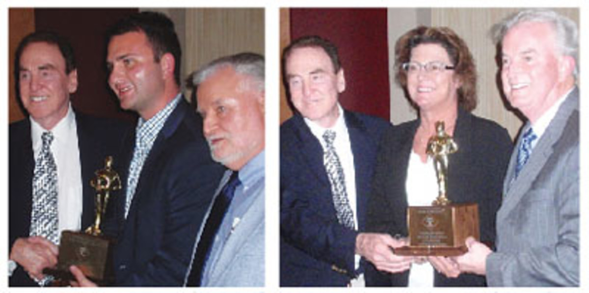 LEFT: Mark Salzberg was not present to accept a corporate Lifetime Achievement Award. Instead, Ronnie Abbazio accepts the trophy from Highfill and Miller. RIGHT: The second NSDR corporate Lifetime Achievement Award was given to the American Numismatic Association by Highfill to Kim Kiick, ANA, executive director, and Gary Adkins, ANA president.