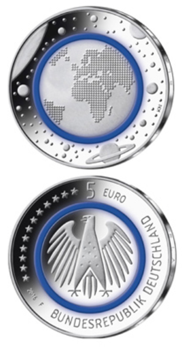 """A translucent polymer ring in The German Federal Ministry of Finance's 2016-dated """"Planet Earth"""" copper-nickel 5-euro coin helped earn it 2018 Coin of the Year honors. It also won the Most Innovative Coin category."""