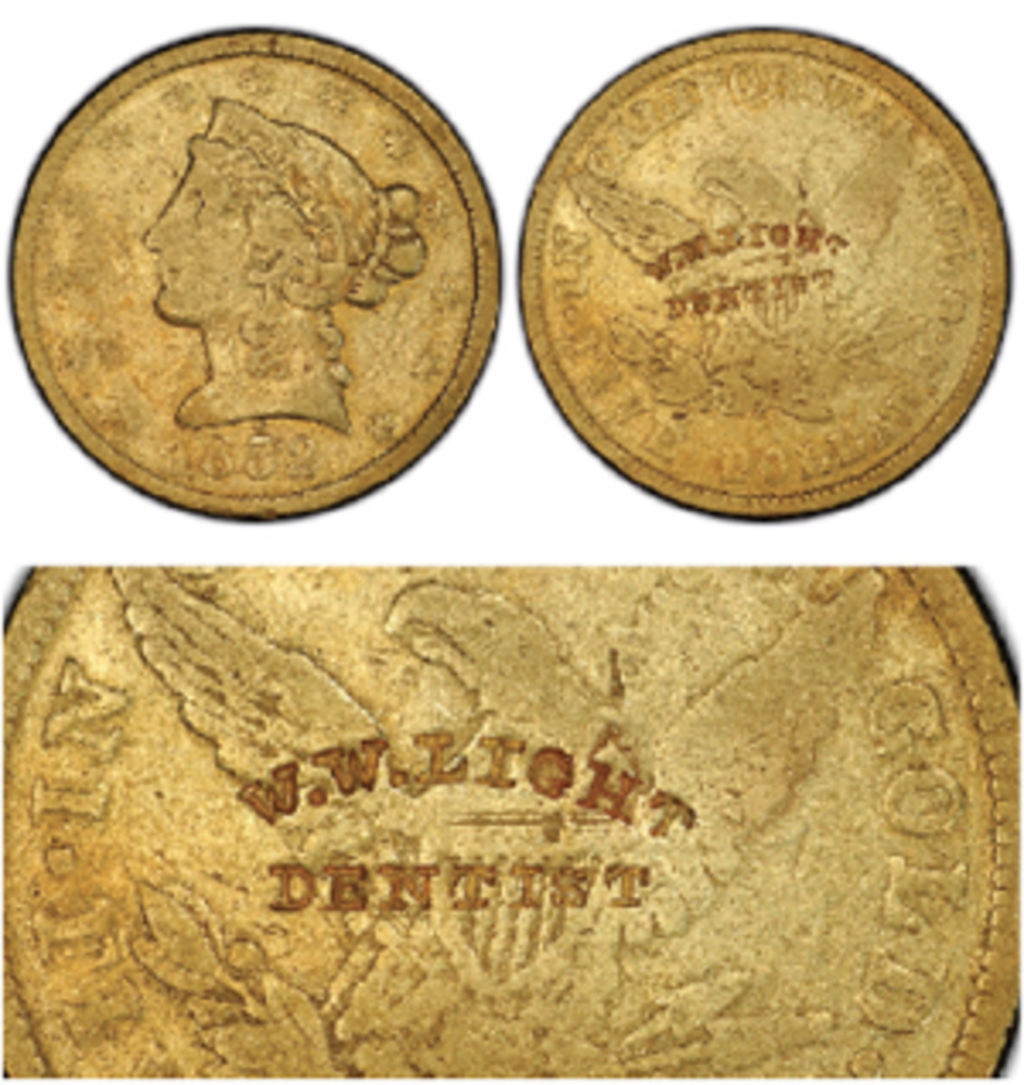 """A Small Head variety 1852 Wass Molitor $5 gold coin, with a counterstamp advertising Sacramento dentist W.W. Light, is among the 105 California Gold Rush Territorial coins recovered during the last expedition to the fabled Ship of Gold, the """"SS Central America."""" (Image courtesy Professional Coin Grading Service www.PCGS.com.)"""
