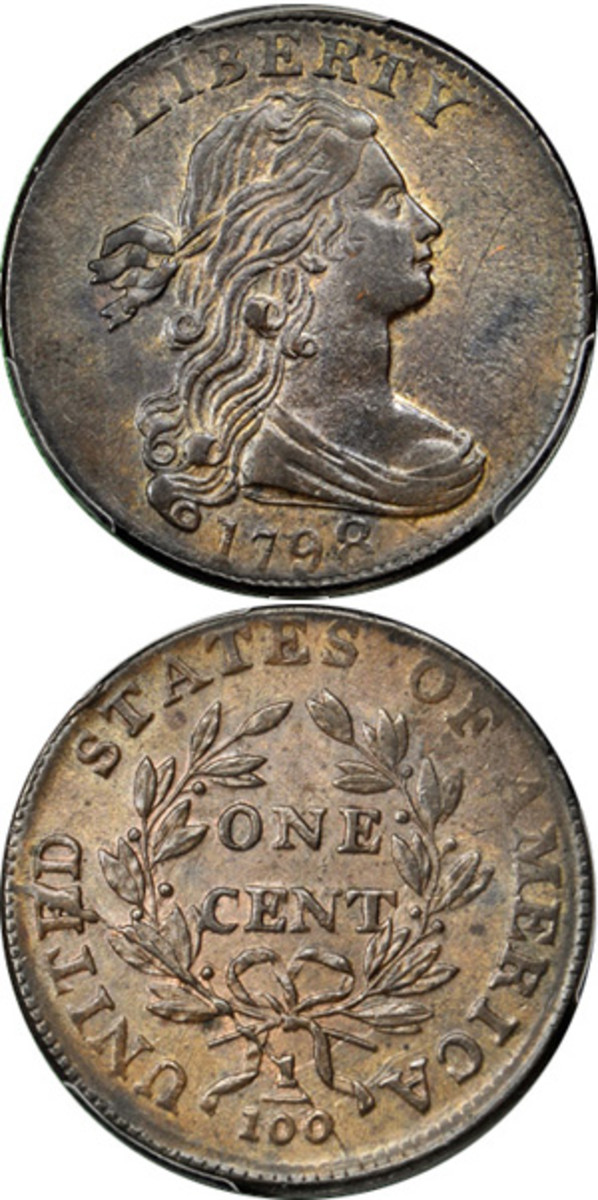 A Condition Census 1798 S-166 Draped Bust large cent is among the rarities to cross the block.