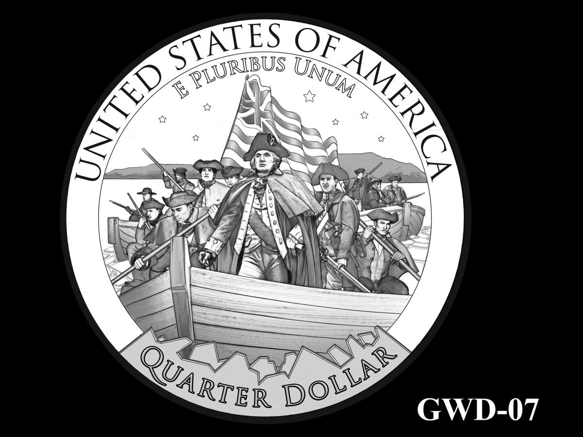 GWD-07 -- George Washington Crossing the Delaware River Quarter - Reverse