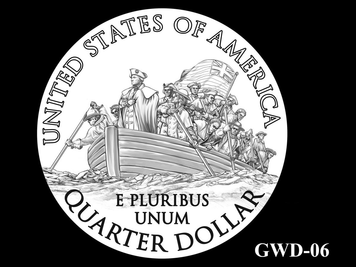 GWD-06 -- George Washington Crossing the Delaware River Quarter - Reverse