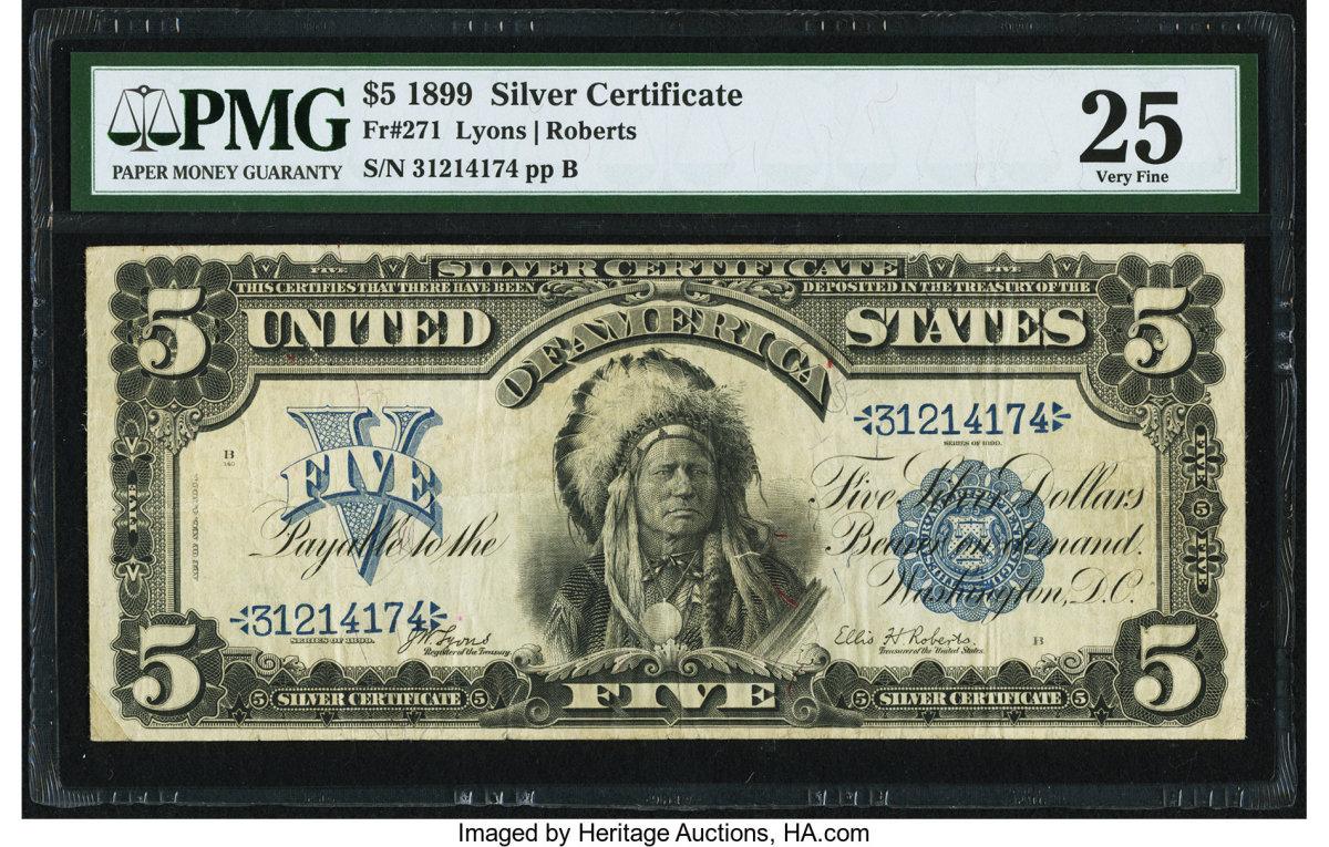 Lot #84480 (KL #241) Fr. #271, Large Size $5 1899, PMG Very Fine 25 bank note