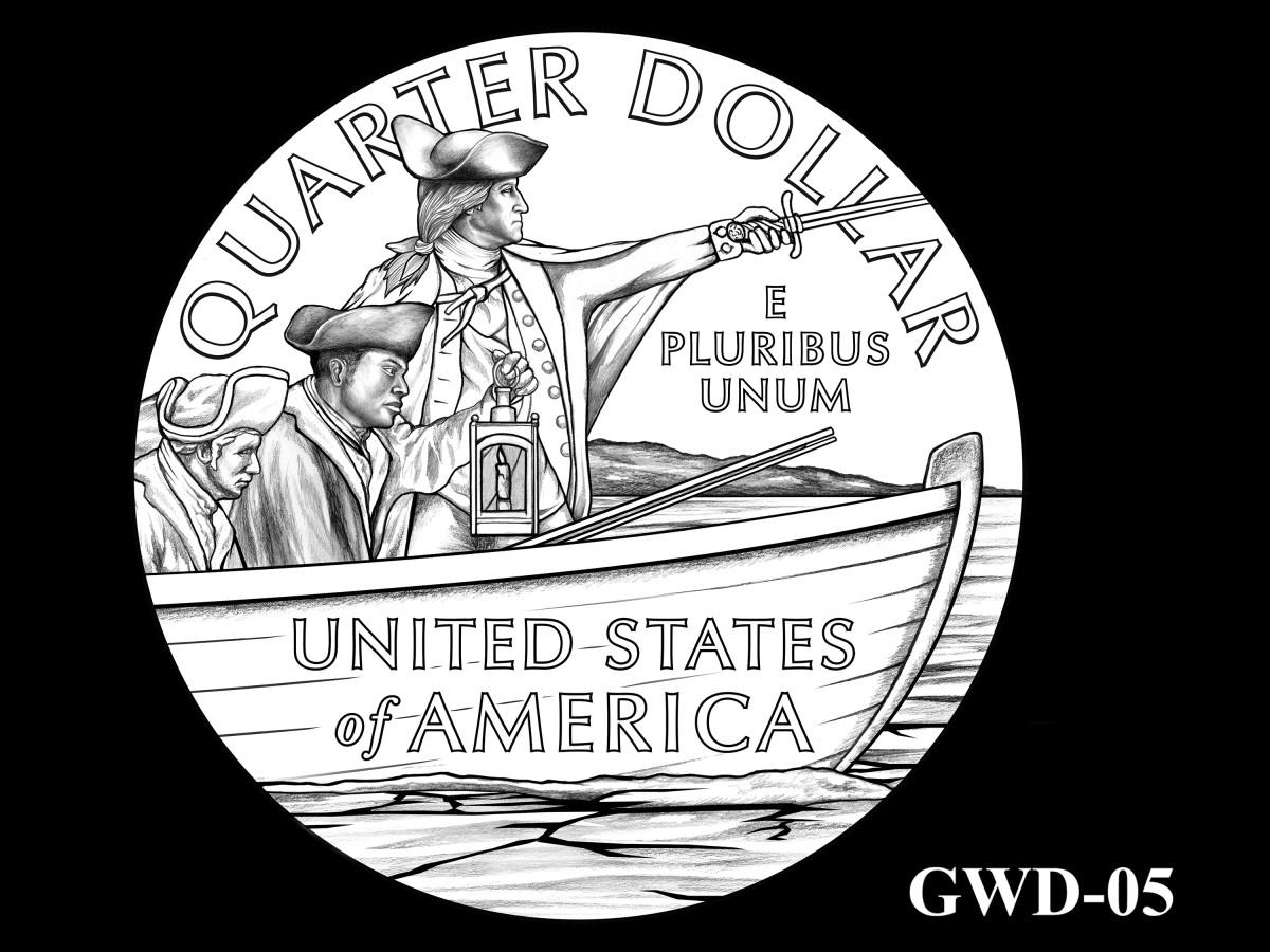 GWD-05 -- George Washington Crossing the Delaware River Quarter - Reverse