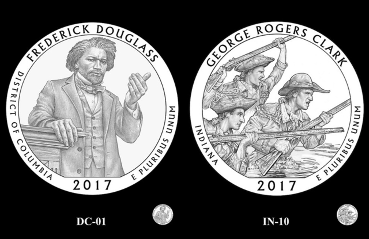 The CCAC also endorsed this Frederick Douglass (left) and George Rogers Clark (right) quarter designs.