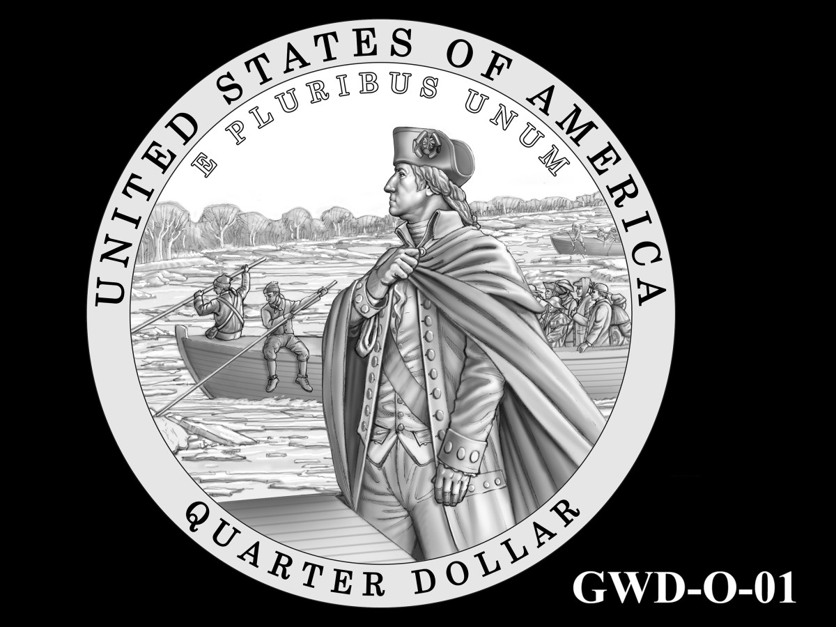 GWD-01 -- George Washington Crossing the Delaware River Quarter - Reverse