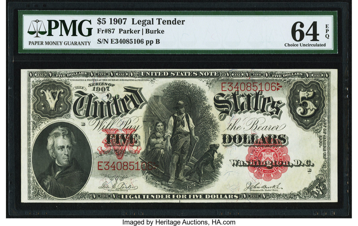 Lot #84456 (KL #217) Fr. #87, Large Size $5 1907, PMG Choice Uncirculated 64 EPQ bank note