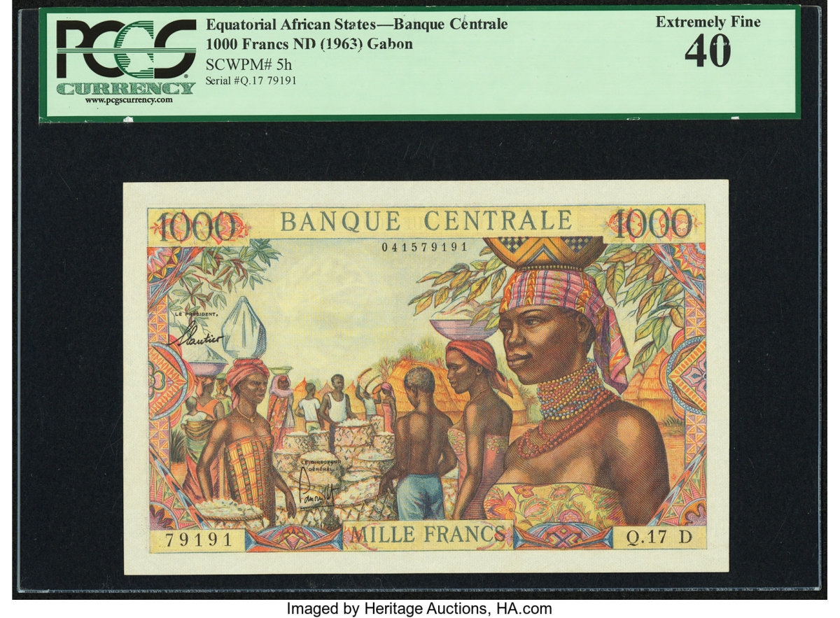 Lot #89092, ND 1963, 1000 Francs, Equatorial African States, Banque Centrale (P# 5h) PCGS Extremely Fine 40