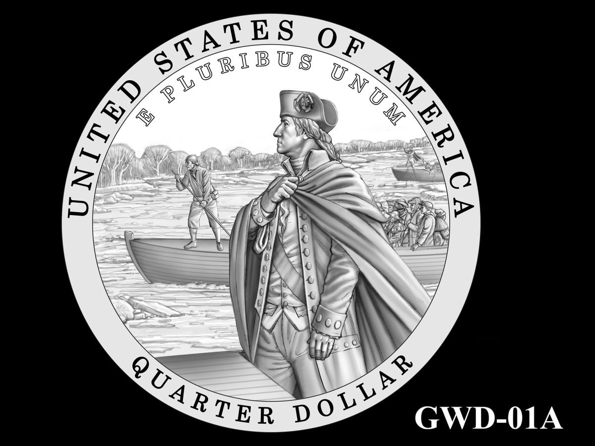 GWD-01A -- George Washington Crossing the Delaware River Quarter - Reverse