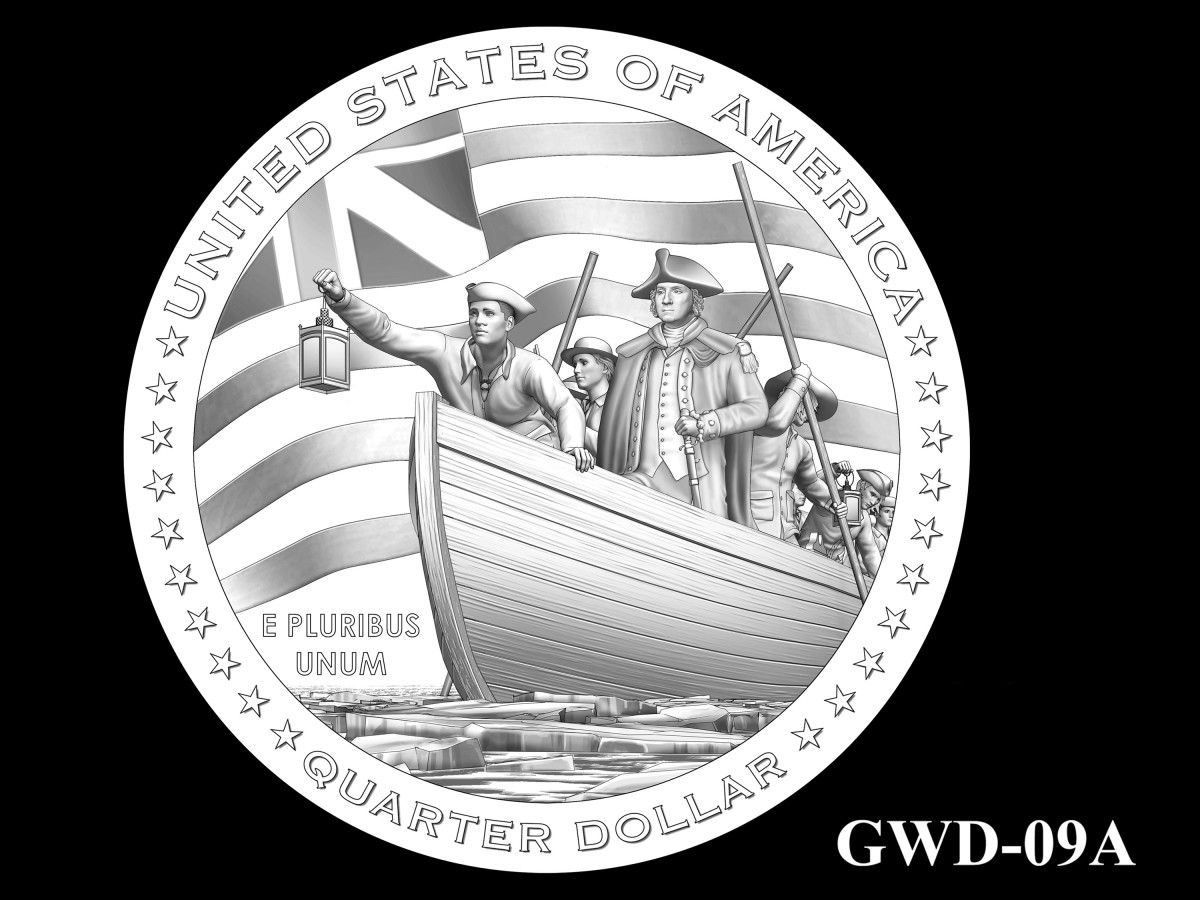 GWD-09A -- George Washington Crossing the Delaware River Quarter - Reverse