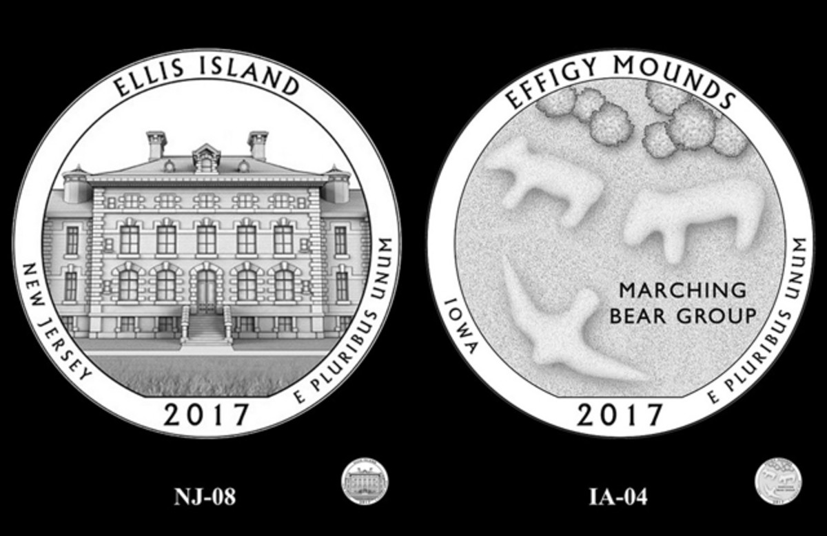 The CCAC asked designers to revisit designers for the Ellis Island and Effigy Mounds quarter designs.