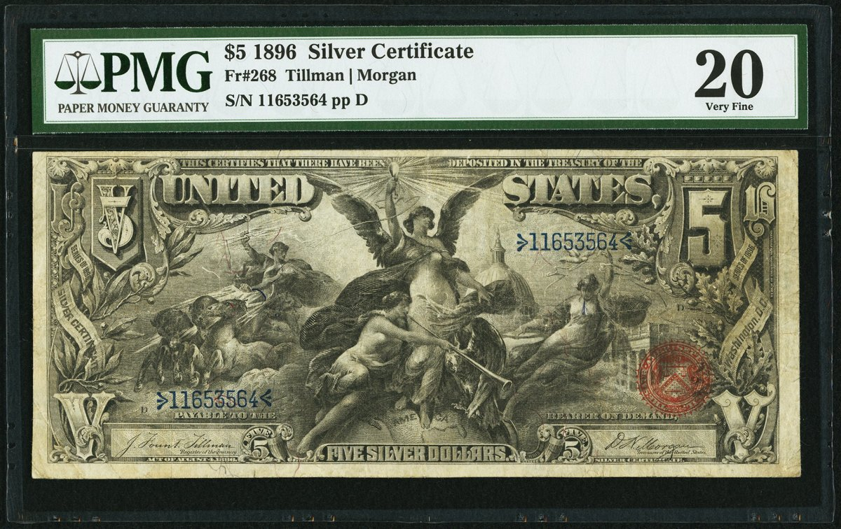 Lot 84478 (KL# 238) Fr.# 268 Large Size $5 1896 Silver Certificate, PMG Very Fine 20 bank note