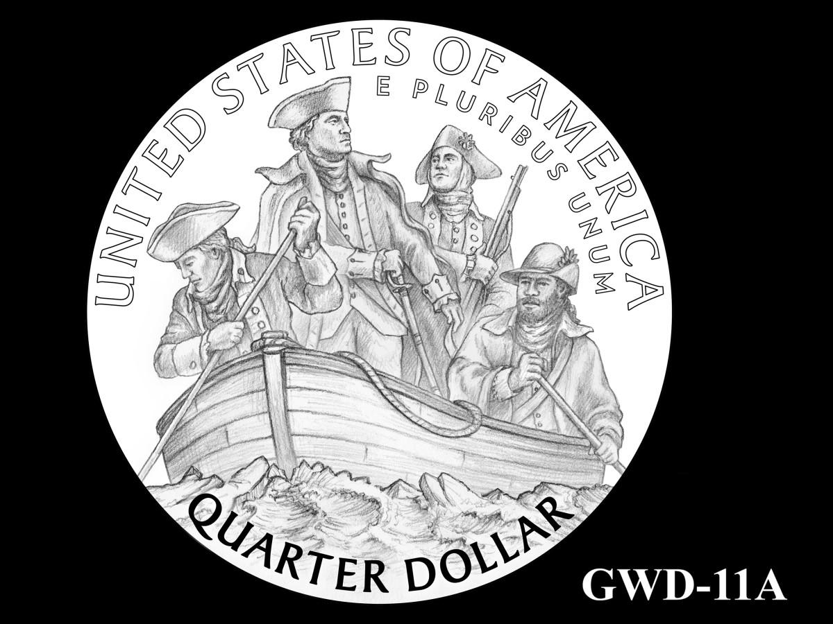 GWD-11A -- George Washington Crossing the Delaware River Quarter - Reverse