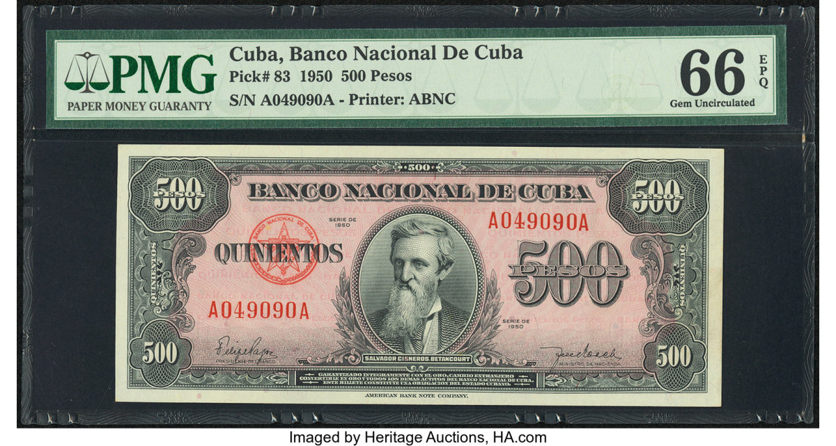 Lot #89071 Cuba, Banco Nacional De Cuba 500 pesos note (P# 83), PMG Gem Uncirculated 66 EPQ