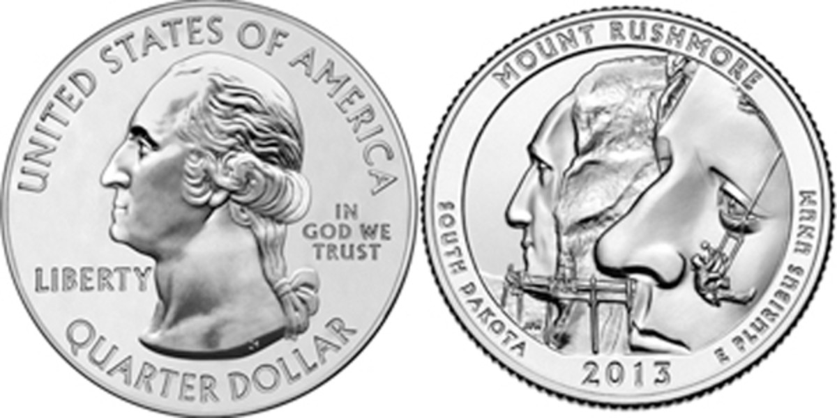 2013 United States Mount Rushmore copper-nickel 25 cents