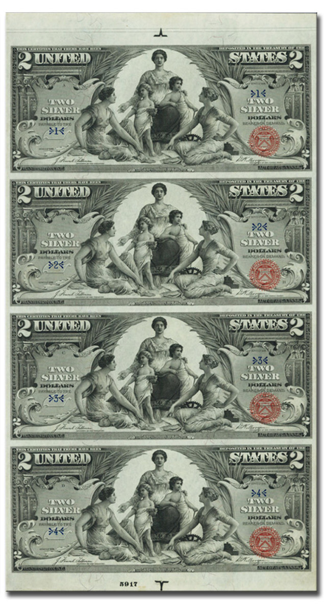 The sheet of proof 1896 $2