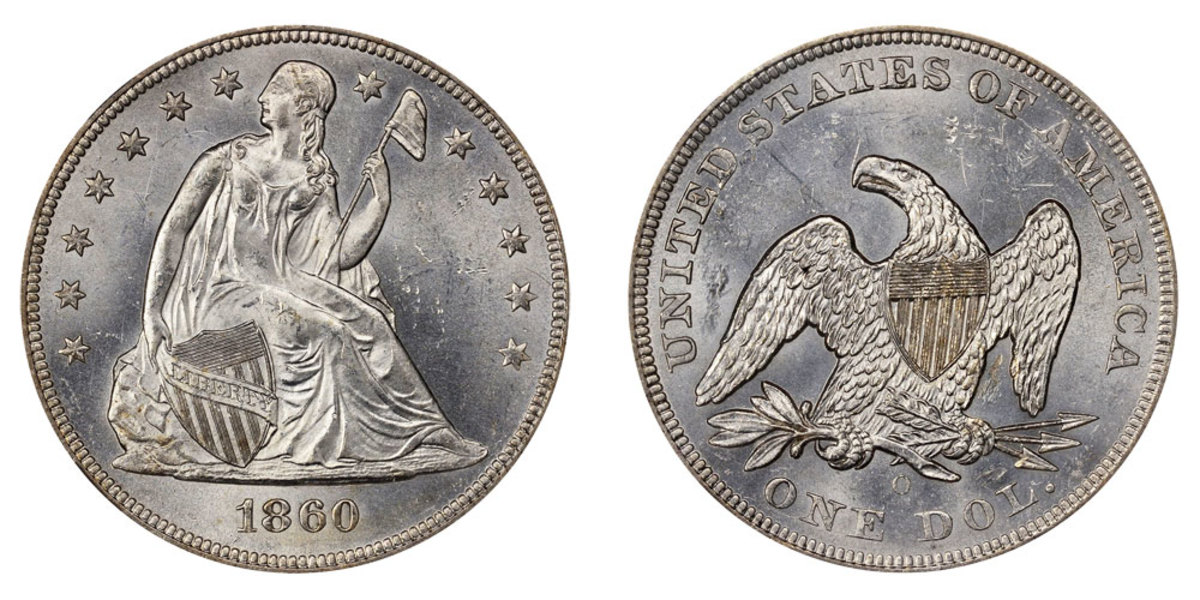 "With a total mintage of 515,000, the 1860-O Seated Liberty dollars are 90% silver and 10% copper.  Seated Liberty dollars from 1840 to 1866 did not include the ""In God We Trust"" motto, which was added back mid-1866.  (Image courtesy of USACoinBook.com)"