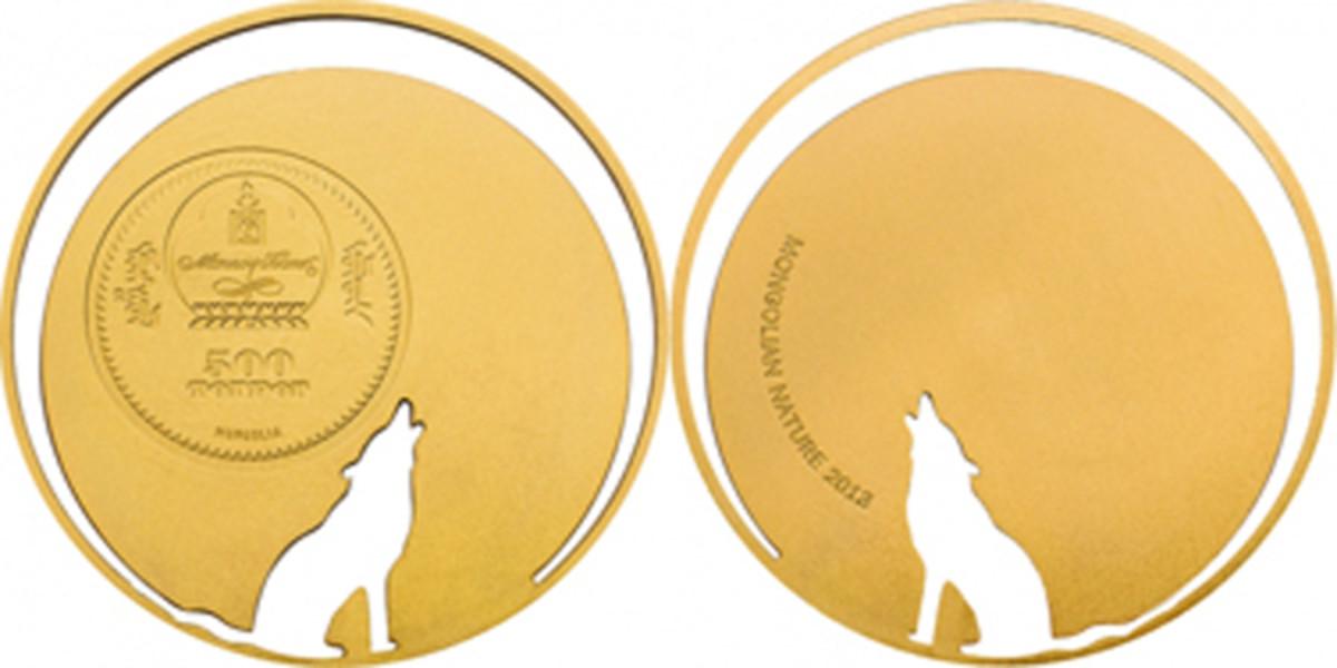 2013 Mongolia wolf cutout gold 500 tugrik
