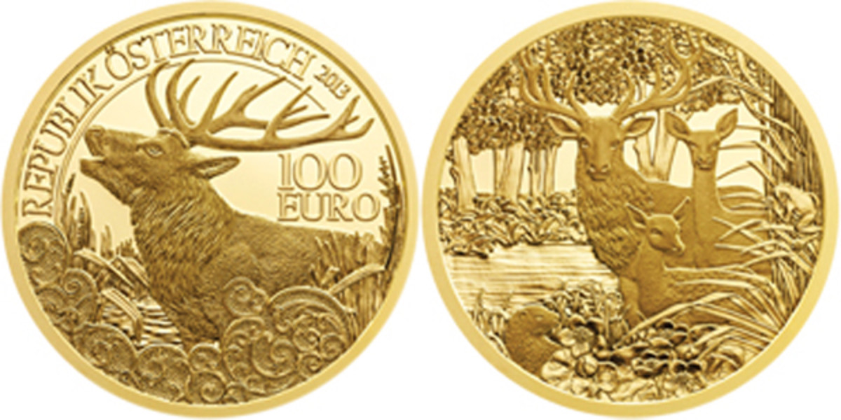 The 2013 Austria Red Deer 100 euro won Most Artistic Coin.