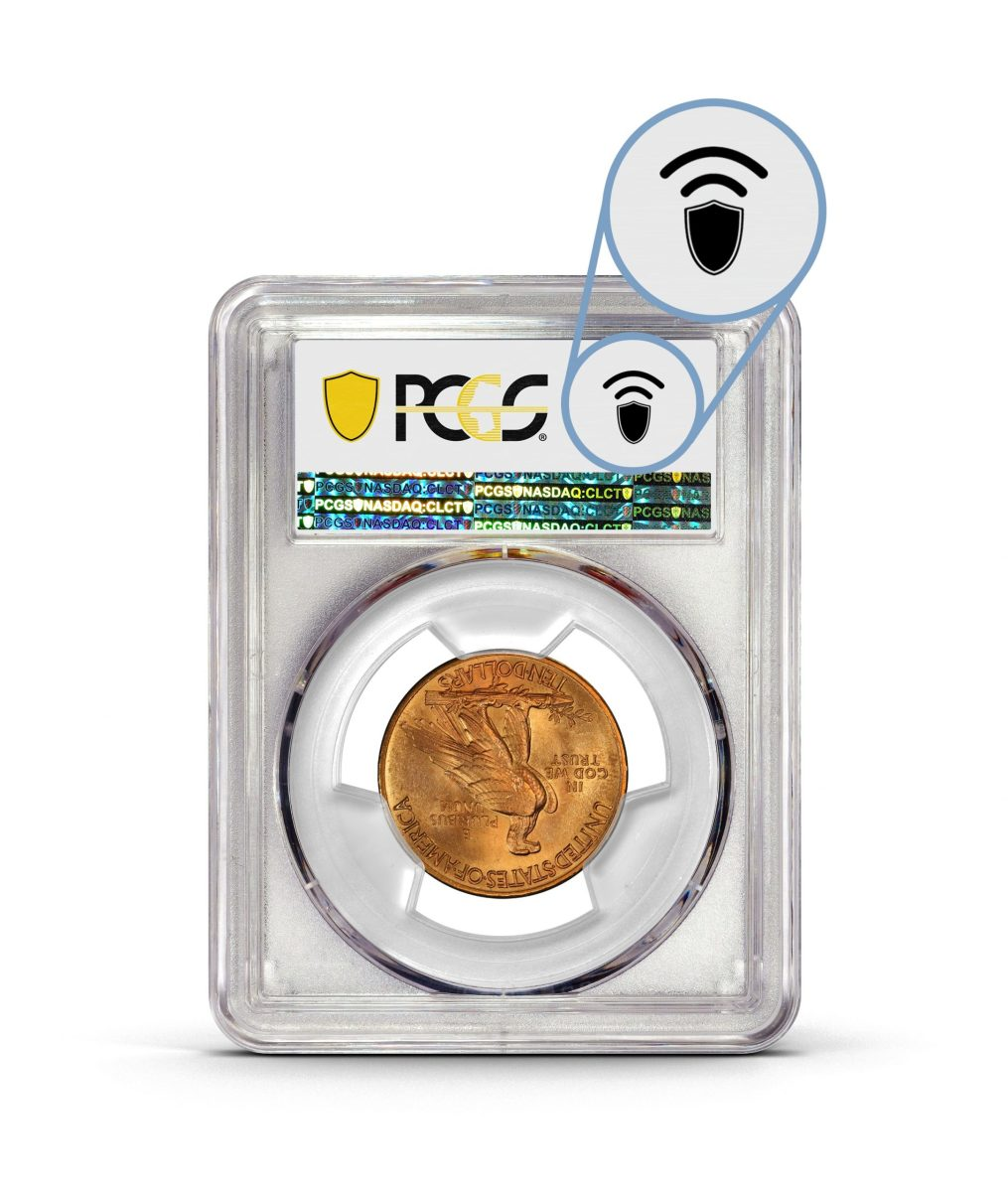 PCGS-graded coin and banknote holders now feature an NFC symbol on the obverse of the label. Coin holders also feature this symbol on the front bottom left of the holder. Image is courtesy of Professional Coin Grading Service.