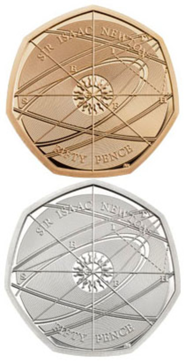 Aaron West's schematic designs decorate the reverses of Britain's gold and silver proof 50p commemorating the 375th anniversary of the birth of Sir Isaac Newton. (Images courtesy and © The Royal Mint)