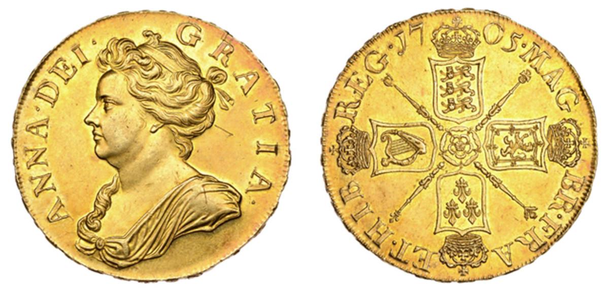 A Queen Anne 5 guineas of 1705.