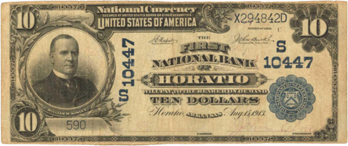 Figure 2. Arkansas collectors were happy to see this discovery recently in a Stack's Bowers sale from the previously unreported Hoatio bank, which lasted 15-1/2 years with a minimal circulation of $6,250.