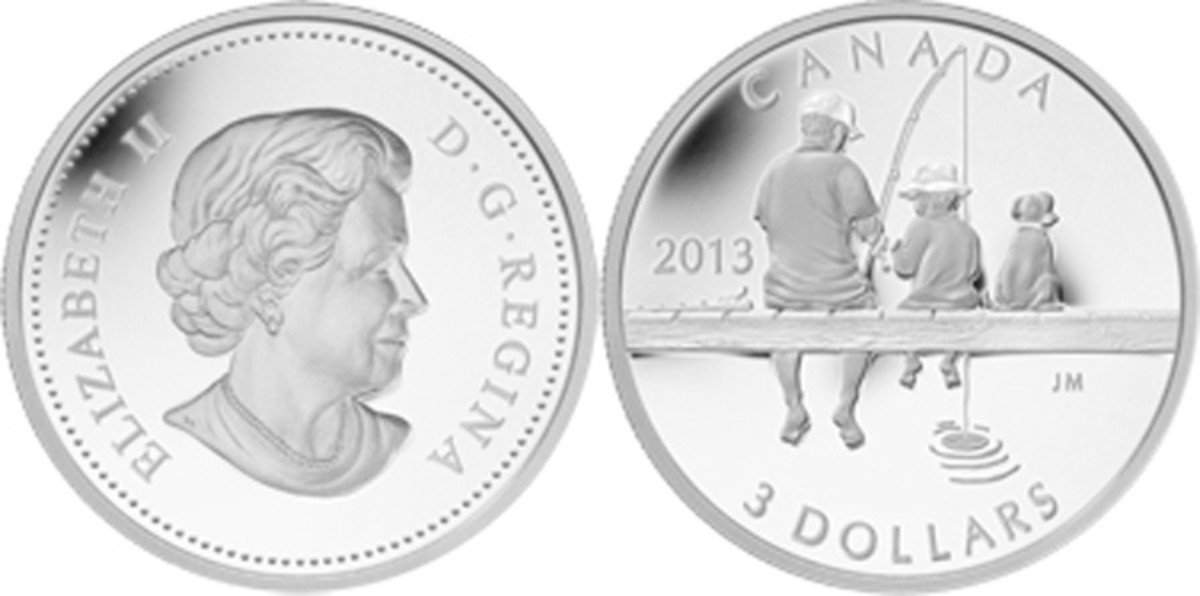 2013 Canada Grandfather and Grandson Fishing silver 3 dollar