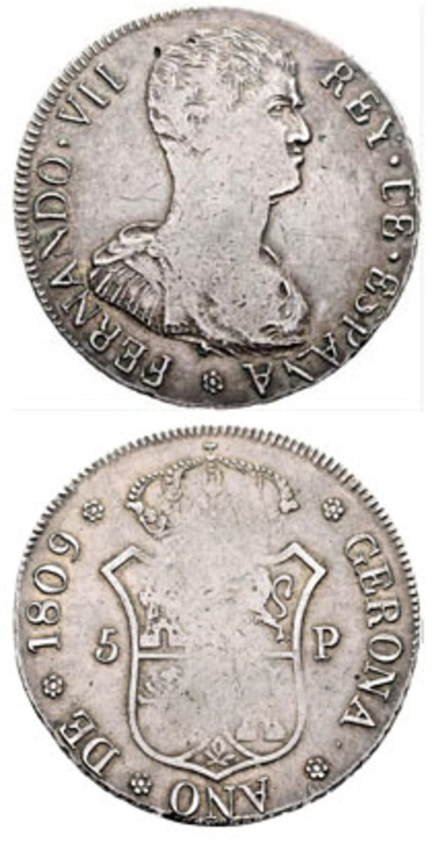 Struck by a local silversmith under the order of the Governor in the city of Gerona, Spain, in 1809, this silver five pesetas bears a stern military bust of Ferdinand VII on the obverse and the crowned arms of Castile and Leon on the reverse. (Image courtesy https://live.cayon.com)