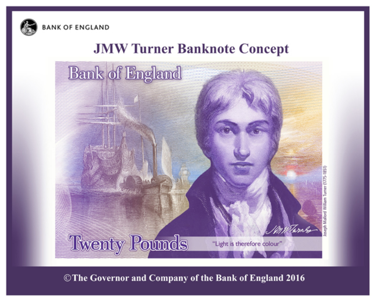 Concept design for the new note featuring artist J.M.W. Turner. Image courtesy & © Bank of England.