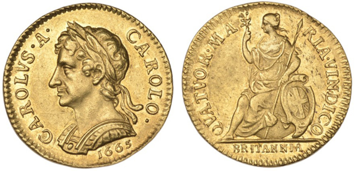 a Charles II 1665 pattern farthing in gold