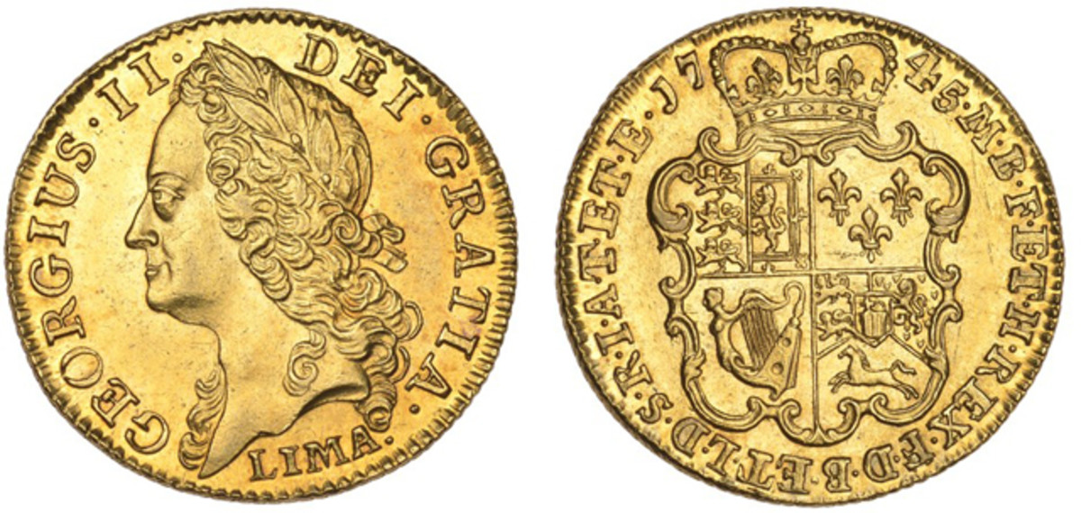 Superb George II 1745 LIMA guinea, S-3679, that went for $47,112.
