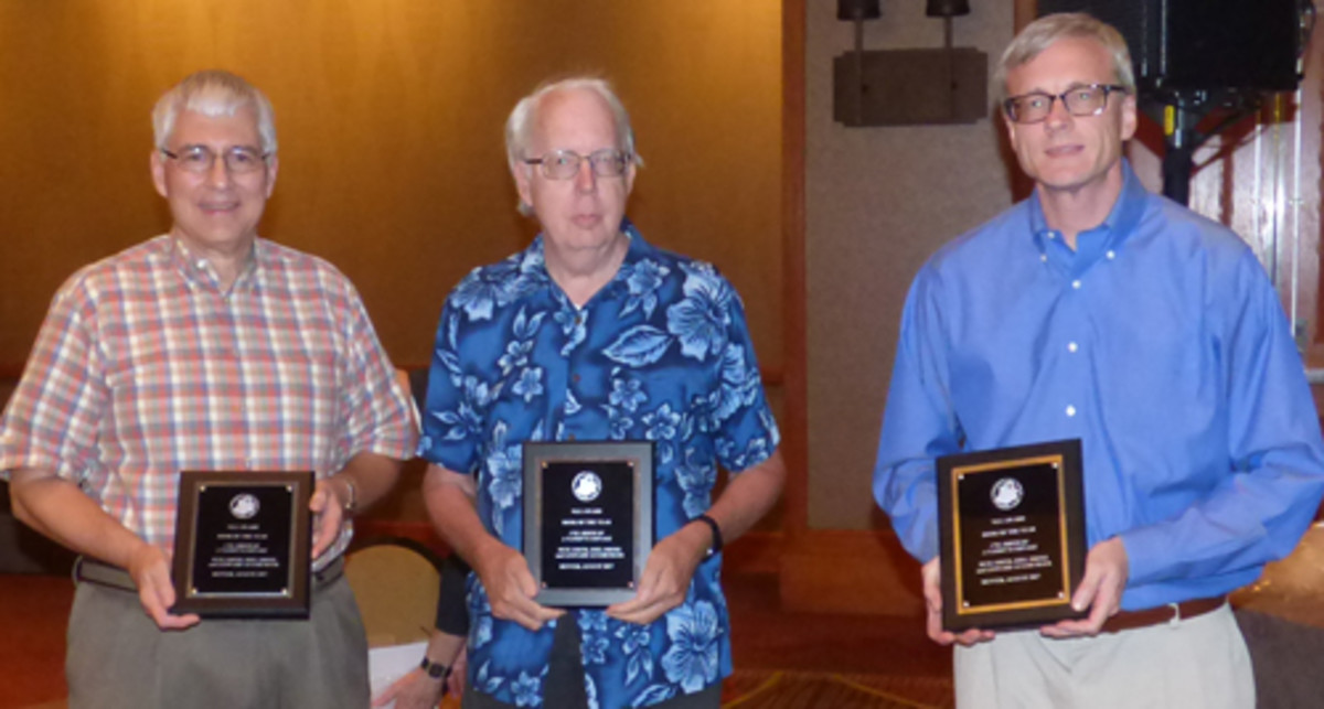 From left: Joel Orosz, Pete Smith and Leonard Augsburger display their Book of the Year Award plaques for '1792: Birth of a Nation's Coinage.'