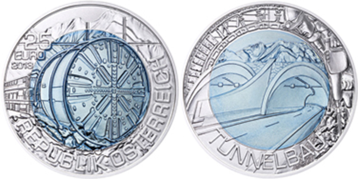 The 2013 Austria Tunneling 25 euro coin won Best B-Metallic Coin.