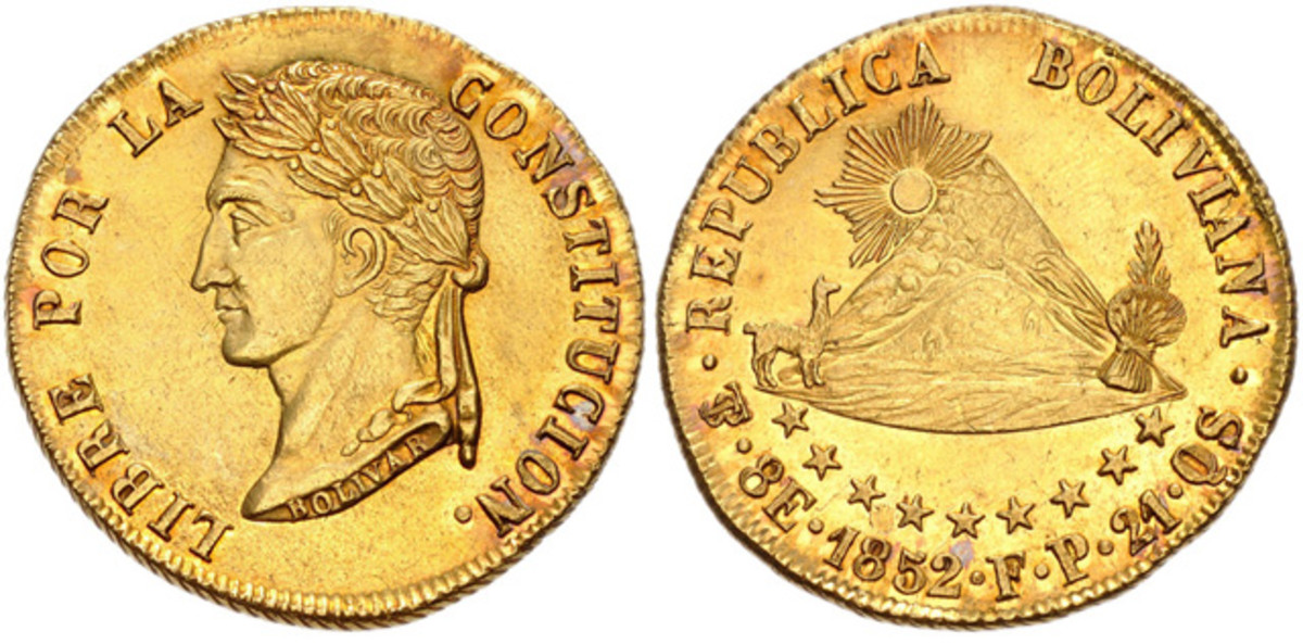 A highlight of the Lissner collection is this Bolivia 1852 PTS FB gold 8 escudos,  which brought $72,600.