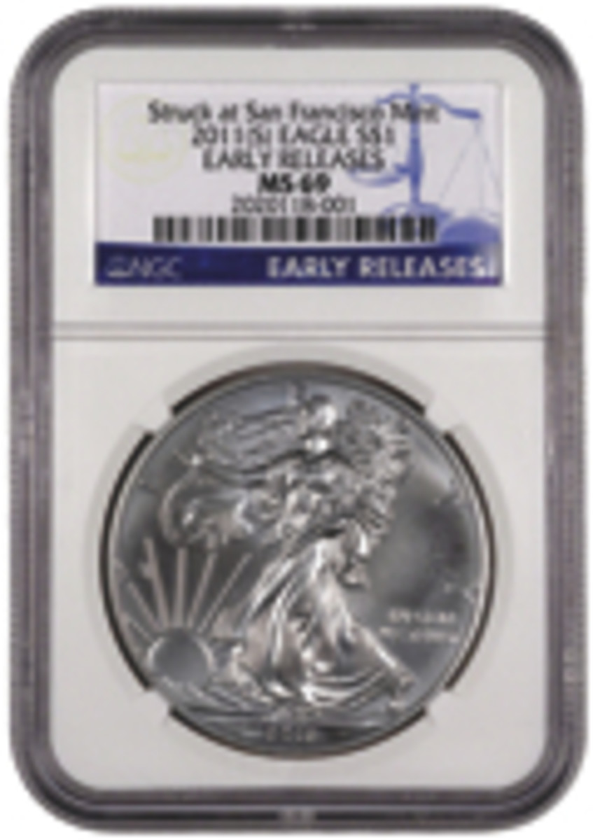ngc slabbed san francisco mint silver eagle coin