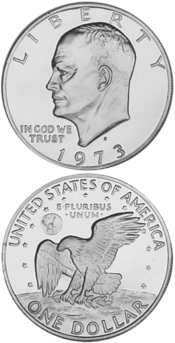 Three years of high issue prices for the 40 percent silver proof Eisenhower dollars left collectors sour to the series at the time, making a Prf-65 1973-S silver proof $45 today.