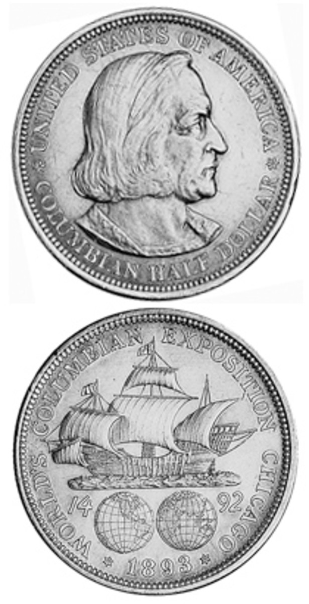An 1893 Columbian Exposition half dollar. The coin debuted in 1892 to mark the 400th anniversary of Columbus' voyage and to raise money for the 1893 World's Columbian Exposition in Chicago.