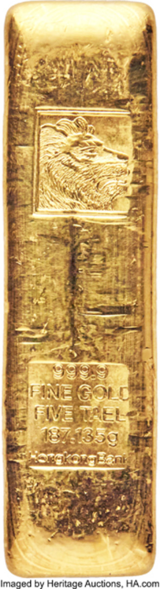 Seldom-seen Hong Kong & Shanghai Banking Corporation gold bar of 5 taels containing 187.135 g of .9999 fine gold that sold for $13,200. (Image courtesy and © www.ha.com)