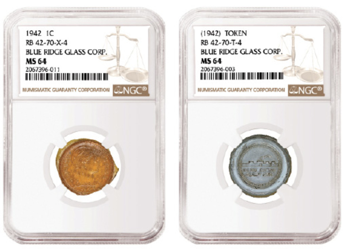 Here are two of 17 experimental glass cents and tokens slabbed by Numismatic Guaranty Corporation.