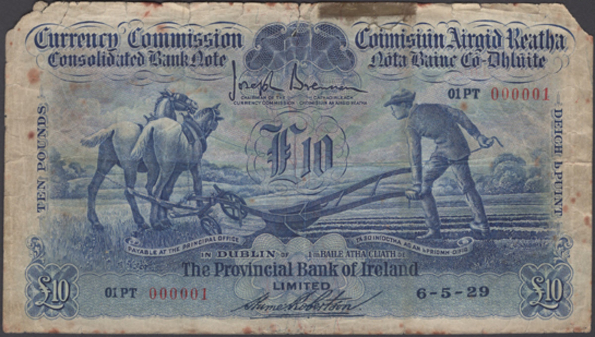 Battered but unbowed: Irish Provincial Bank £10 of 6 May 1929, P-40a, that carries serial number 01PT 000001. It is the sole number 1 note of the first date of issue of Ireland's Ploughman series in private hands. Graded aF, it will be offered for sale at DNW's Oct. 2 sale with an estimate of $9,000-$11,500. (Image courtesy DNW)